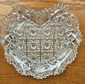 American Brilliant Cut Glass AB Unknown Maker/Pattern Heart Shaped Dish Trinket