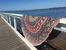 Round Mandala Indian Bohemian Elephant Tapestry Beach Picnic Throw Yoga Mat Rug