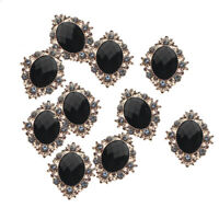 10pcs DIY Crystal Rhinestone Button Flatback Cabochon Embellishment Black