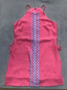 Lilly Pulitzer Pearl Romper In Hot Pink Size 8 Zip Back Polyester NWT