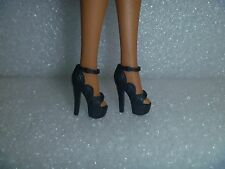Barbie Shoes -Black Ripple Sided Extreme High Heel Fashionista Shoes