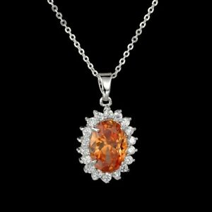 18K WHITE GOLD PLATED GENUINE TOPAZ AND CLEAR CZ & AUSTRIAN CRYSTAL NECKLACE