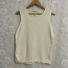 Les Copains Cashmere Sleeveless Sweater Ivory Women's Made In Italy 48 US M