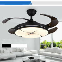 """42"""" Modern Invisible Ceiling Fan Light Remote Dimmable Chandelier Retractable"""