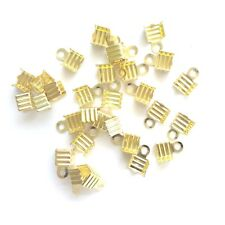 100 Gold plated Findings 6x5mm Folding Crimp Ends