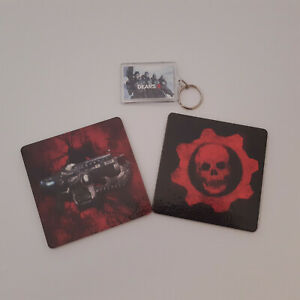 WOODEN  Gears of War X2 COASTER AND KEYRING SET