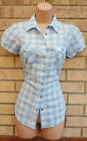 PAPAYA 100% COTTON BLUE WHITE GINGHAM CHECK SHORT SLEEVE T SHIRT BLOUSE TOP 8 S