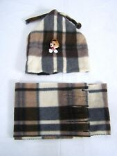 Brown Ivory Plaid Teddy Bear Fringe Scarf and Beanie Toddler Boy