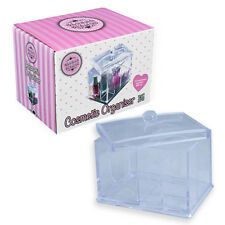 ACRYLIC TRANSPARENT COSMETIC ORGANISER WITH LID MAKE UP CASE DISPLAY WITH COVER