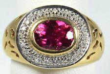 14K YELLOW GOLD  LAURA RAMSEY RUBELLITE PINK TOURMALINE & DIAMOND RING 7.6 GRAM