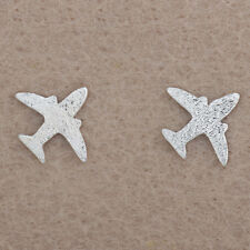 Girl Elegant Ear Stud Earrings Women Silver Plated Frosted Airplane Fashion