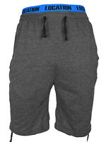 Mens Location Long 3/4 Length Fleece Knee Shorts Summer Logo Jogger Short New