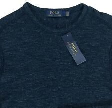 Men's POLO RALPH LAUREN Blue Crew Neck Cotton Sweater Knit Shirt S Small NWT