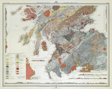 SCOTLAND Geological map - southern section. Sir Archibald Geikie. LARGE 1895