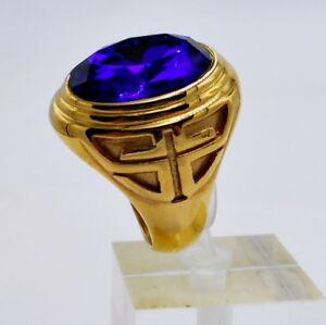 MEN RING BLUE SAPPHIRE STAINLESS STEEL GOLD POPE CROSS BISHOP BIKER HUGE SIZE 9