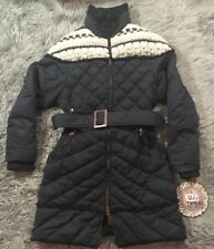 UGG Ultra Warm Down Feather Coat Black Gray Natural knit Wool Detail Belt Size S