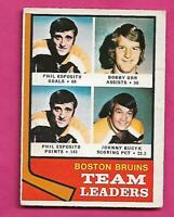 1974-75 OPC  # 28 BRUINS ESPOSITO + ORR  LEADERS GOOD CARD (INV# C5505)