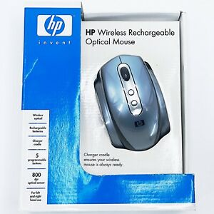 HP RECHARGEABLE WIRELESS OPTICAL MOUSE WITH RECEIVER CHARGER CRADLE 0PPO34AA#ABA
