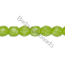 30 Czech Fire Polished Round Glass Loose Beads in Many Opaque Colors & Sizes