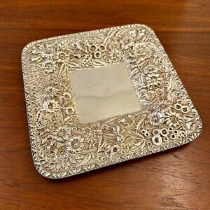 EARLY S KIRK & SON COIN SILVER 11 OZ REPOUSSE SQUARE TRAY 1846-1861 - NO MONO