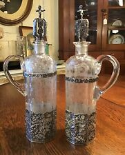 Pair of Antique German Wolf & Knell Sterling & Crystal Decanters