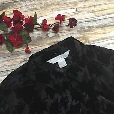 Express Shirt Vintage Burnout Top S Velvet Black Small Womens Button Leaves #456