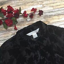Express Shirt Vintage Burnout Top S Velvet Black Small Womens Button Leaves #456