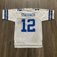 VINTAGE Reebok Colts Jersey Mens Medium White NFL Roger Staubach #12