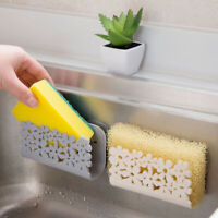 Double Suction Cup Sink Sponge Soap Holder Kitchen Bathroom Drain Storage Rack