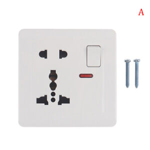 Universal Wall Socket With LED Light Switch 5 Hole USB Wall Power Socket MGBWBW