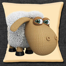 Funny Knitted Cartoon Sheep Cushion Cover 16x16 inch 40cm Cream Unique Gift Idea