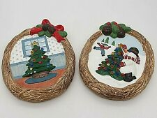 Vntg Artisan Handpainted Ceramic Christmas Tree Snowman Wreath Wall Decor 8""