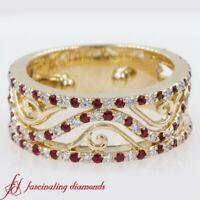 Round Cut Diamond And Ruby Gemstone Vintage Style Wide Wedding Band 0.65 Carat