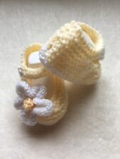 Baby Girls Hand Knitted Lemon Shoes With White Flower To The Side Newborn 👶