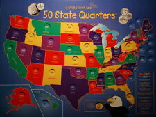 1999 thru 2008 Statehood Quarter Collection Wall Mount Map and NO U.S. Coins
