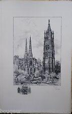 ROBIDA - Cathédrale BORDEAUX Grande Lithographie originale Signée 82/125 Gironde