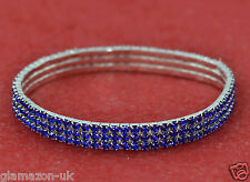 Anklet 3 Row Blue Rhinestone Diamante Stretchy Brand New UK Free Post