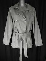 BNWT Ladies Sz 14 Now Brand Grey Marle Soft Stretch Belted Button Blazer Jacket