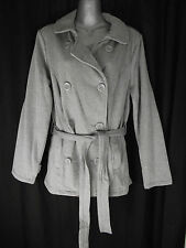 BNWT Ladies Sz 14 Now Brand Grey Marle Soft Stretch Belted Button Blazer Jacket