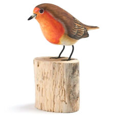 Hand Carved Wooden Painted Robin on a Tree Stump Garden Ornament Bird Carving