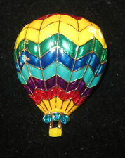 Hot Air Balloon Pin Gold Tone Crystal Accents by Basket New Bright Colors