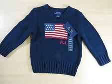 Boys Polo Ralph Lauren Flag Intarsia Navy Hunter Sweater Jumper Size 3 AC18