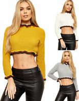 Womens Ladies Cropped Knitted Ruffle Frill Hem Red Green Striped Jumper Crop Top