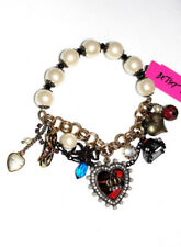 Betsey Johnson Royal Charm Bracelet, Red Heart, Crystals, Taxi, Bow & Glasses