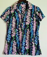 Lilly Pulitzer Womens Navy Floral Cotton Shirts Tops Short Sleeves Size M