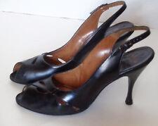 Vintage 60s Black Open Toe Shoes Open Back Troylings Calf 8 N