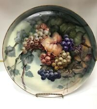 French Ceramic Limoge Plate with Beautifully Painted Fruit