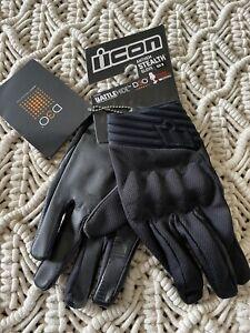 Icon Anthem Stealth Glove Size Medium Black Battlehide D30 Touch Screen Enabled