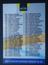 NHL 250 Hockey Checklist Stadium Club 1993/94