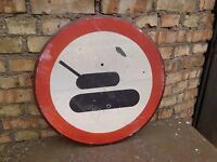 "Road Sign Military ""Tanks"" Real vintage"